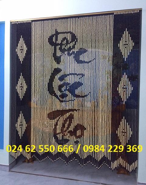 Rèm hạt gỗ chữ thư pháp