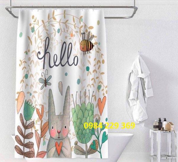 Rèm phòng tắm hình con thỏ
