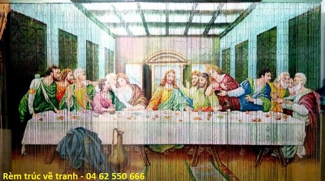 Rèm trúc vẽ tranh công giáo