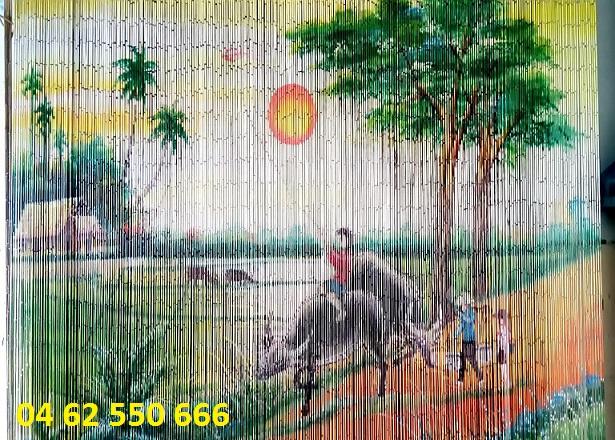 Rèm trúc vẽ tranh làng quê